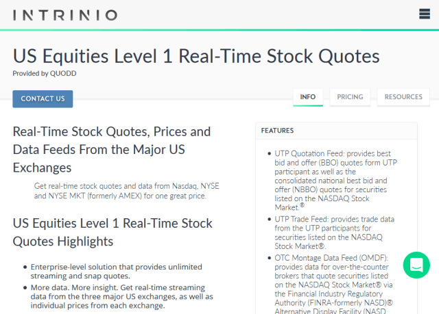 Intrinio Us Equities Level 1 Real Time