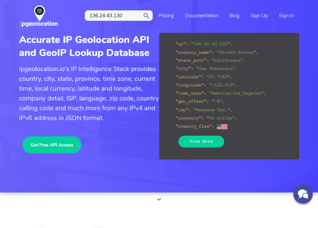 Ipgeolocationio API