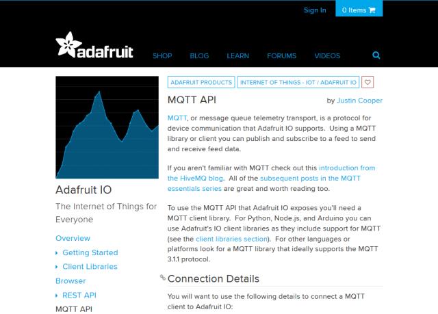 Adafruit Io Mqtt API