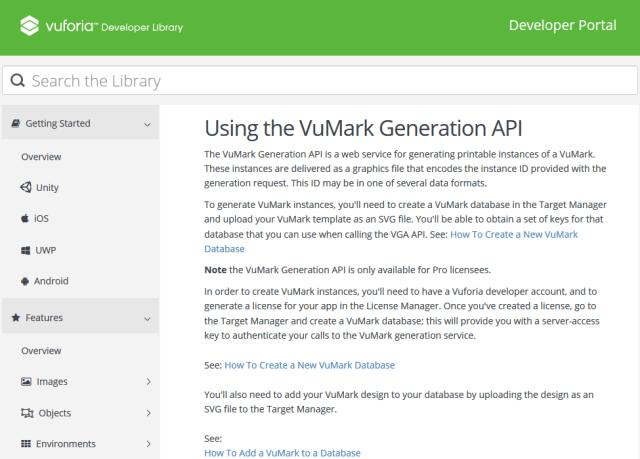 Vuforia Vumark Generation API