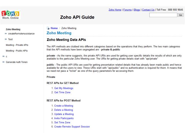 Zoho Meeting API