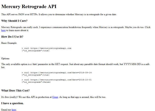 Mercury Retrograde API