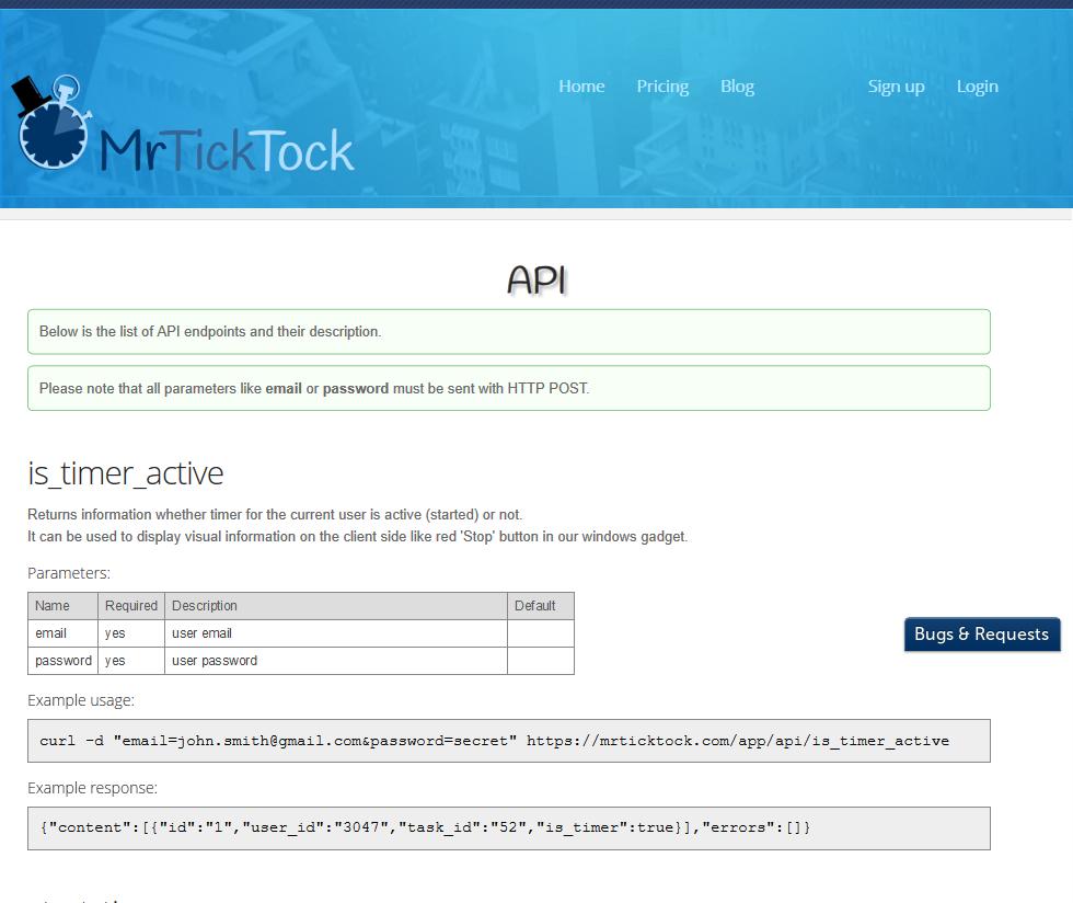 MrTickTock API