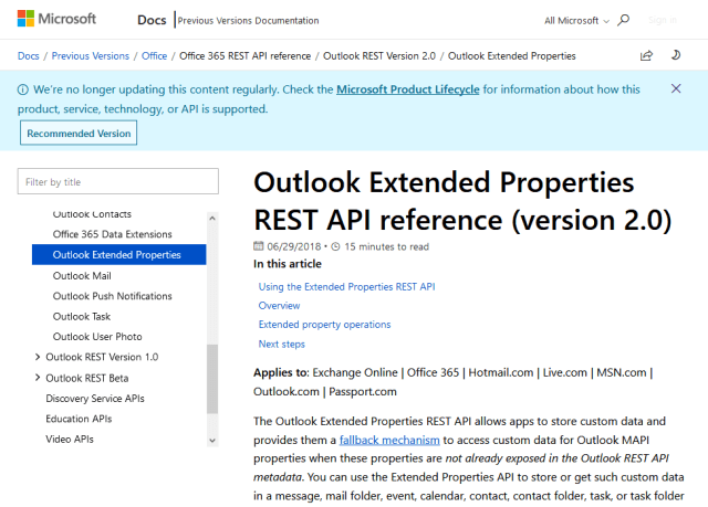 Outlook Extended Properties API