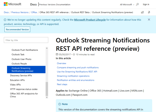 Outlook Streaming Notifications API (Overview, Doentation ... on