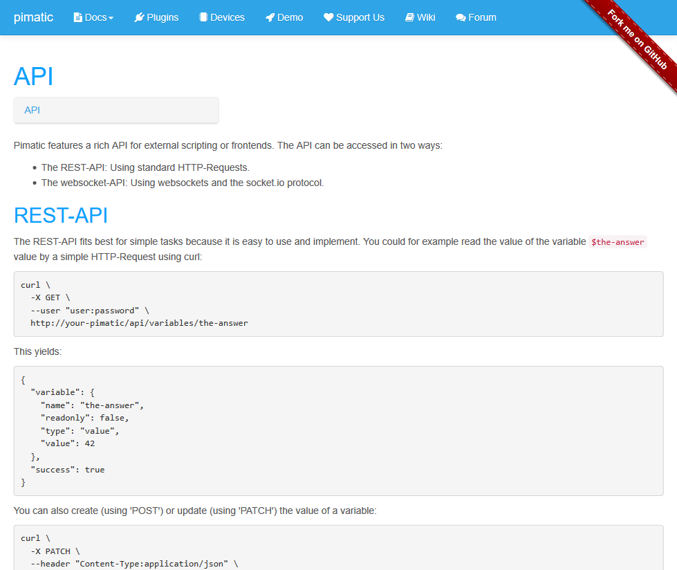Pimatic REST API