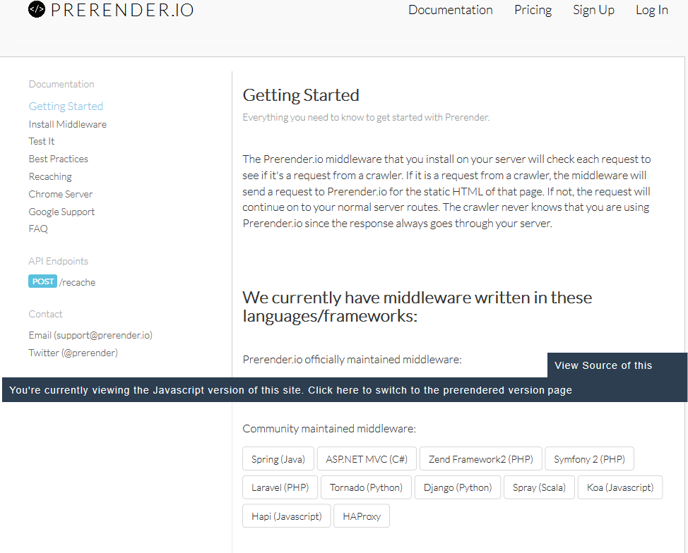 Prerender API