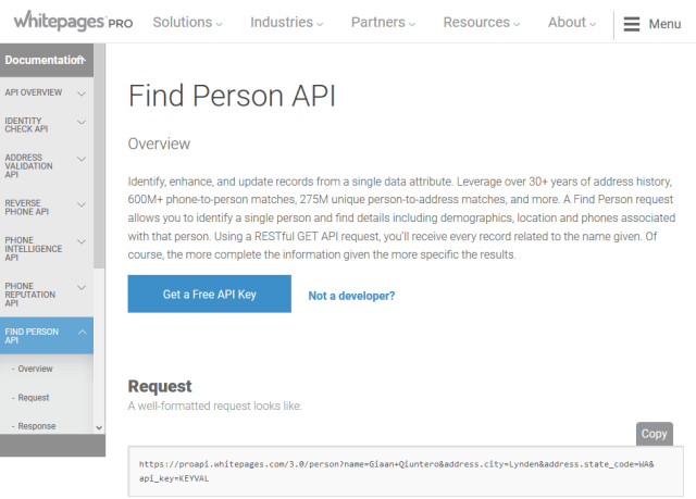 Whitepages Pro Find Person API