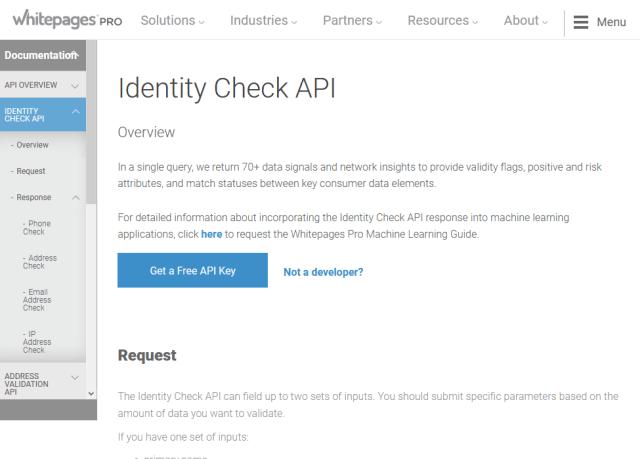 Whitepages Pro Identity Check API