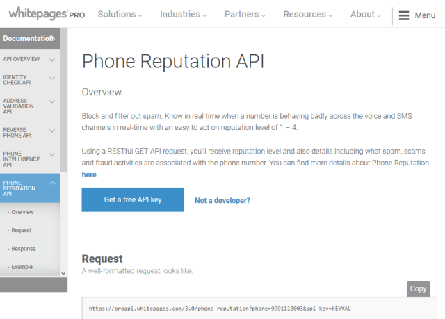Whitepages Pro Phone Reputation API