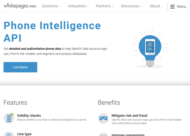 Whitepages Pro Phone Intelligence API