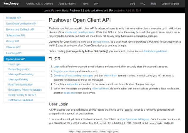 Pushover Open Client API