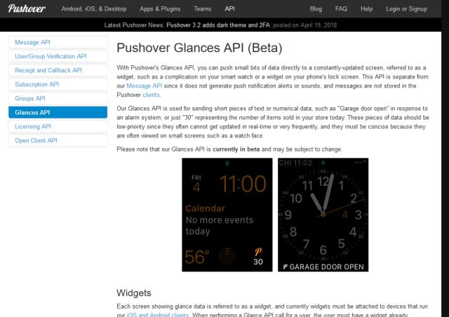 Pushover Glances API