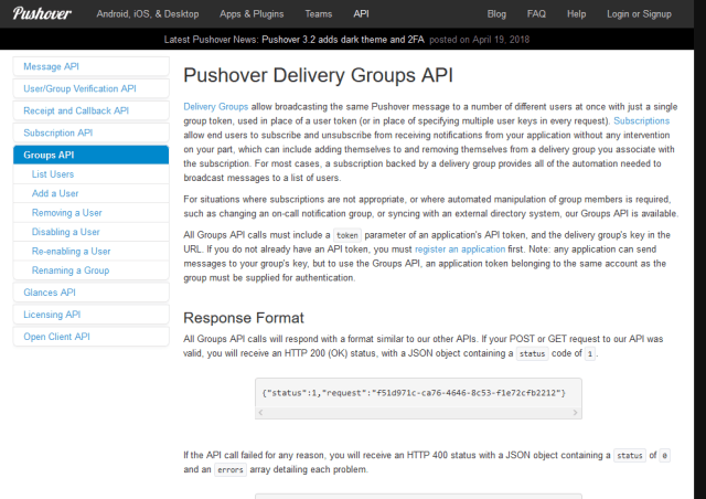 Pushover Delivery Groups API