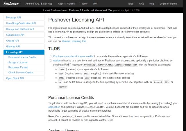 Pushover Licensing API