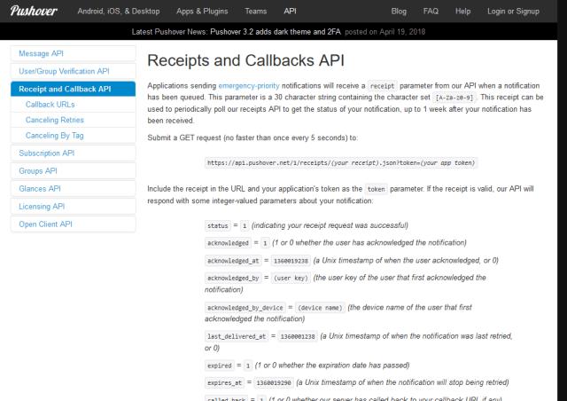 Pushover Receipts And Callbacks API