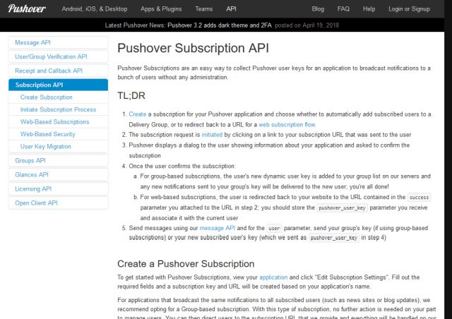 Pushover Subscription API