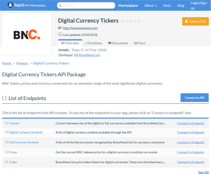 BraveNewCoin Digital Currency Tickers API