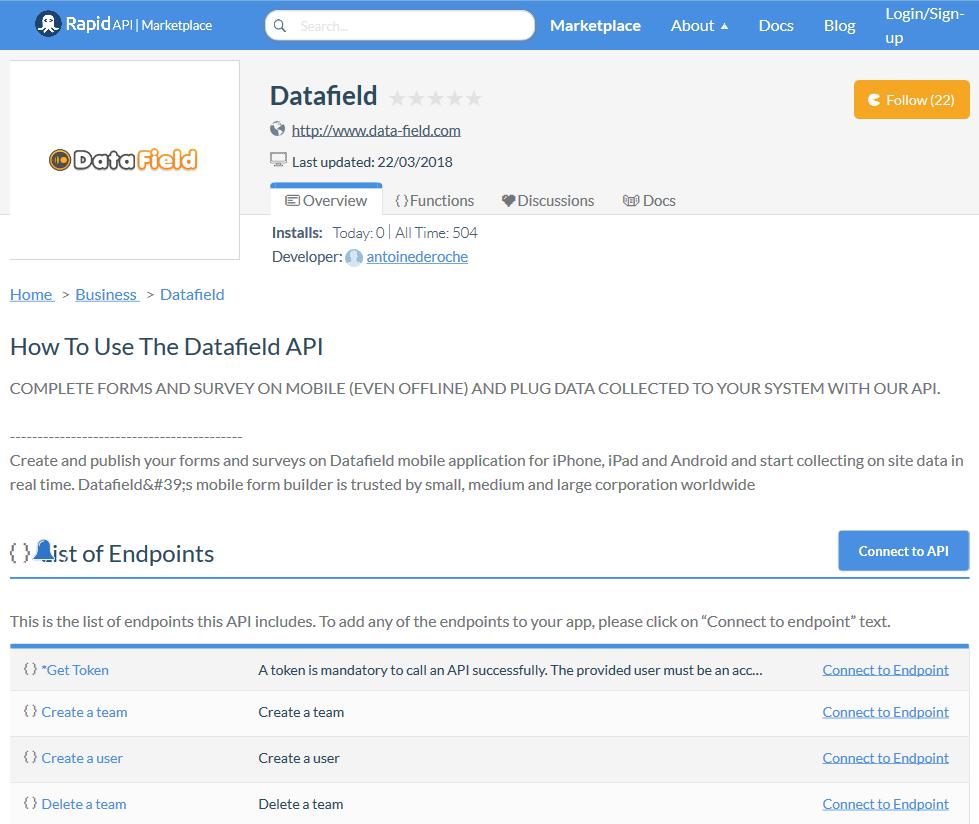 Datafield API