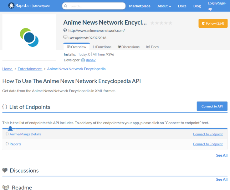 Anime News Network Encylopedia API