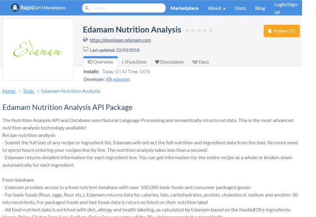 Edamam Nutrition Data API