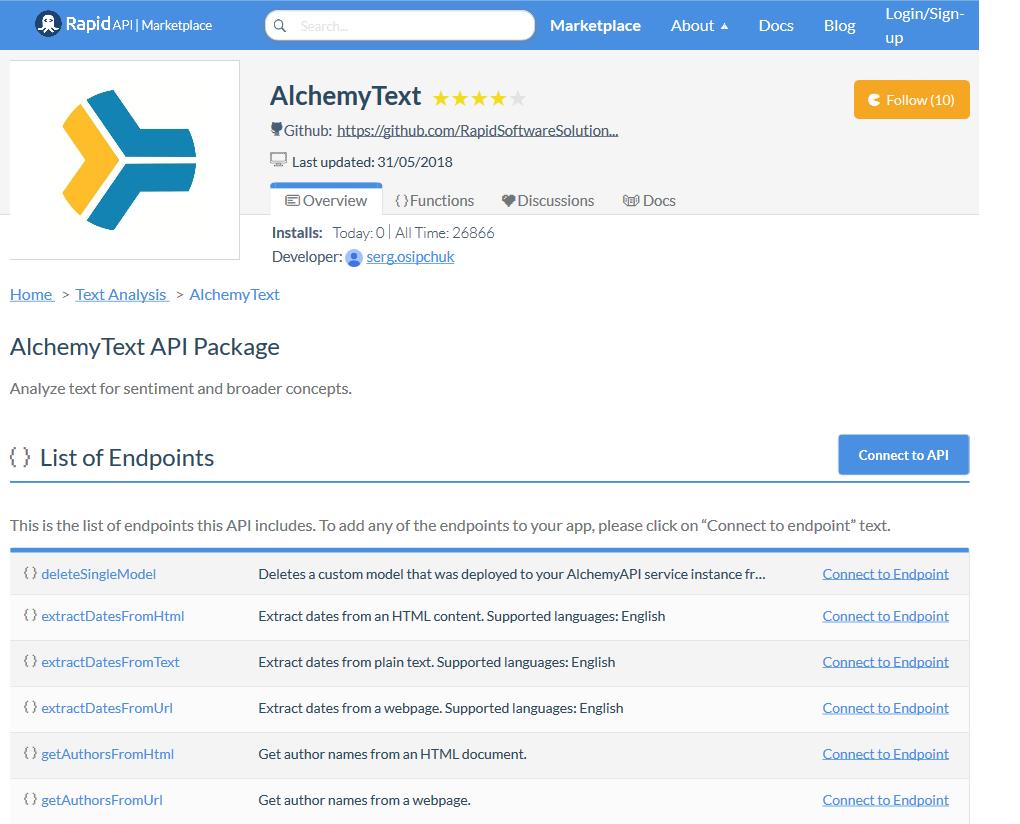 AlchemyAPI Sentiment Analysis API