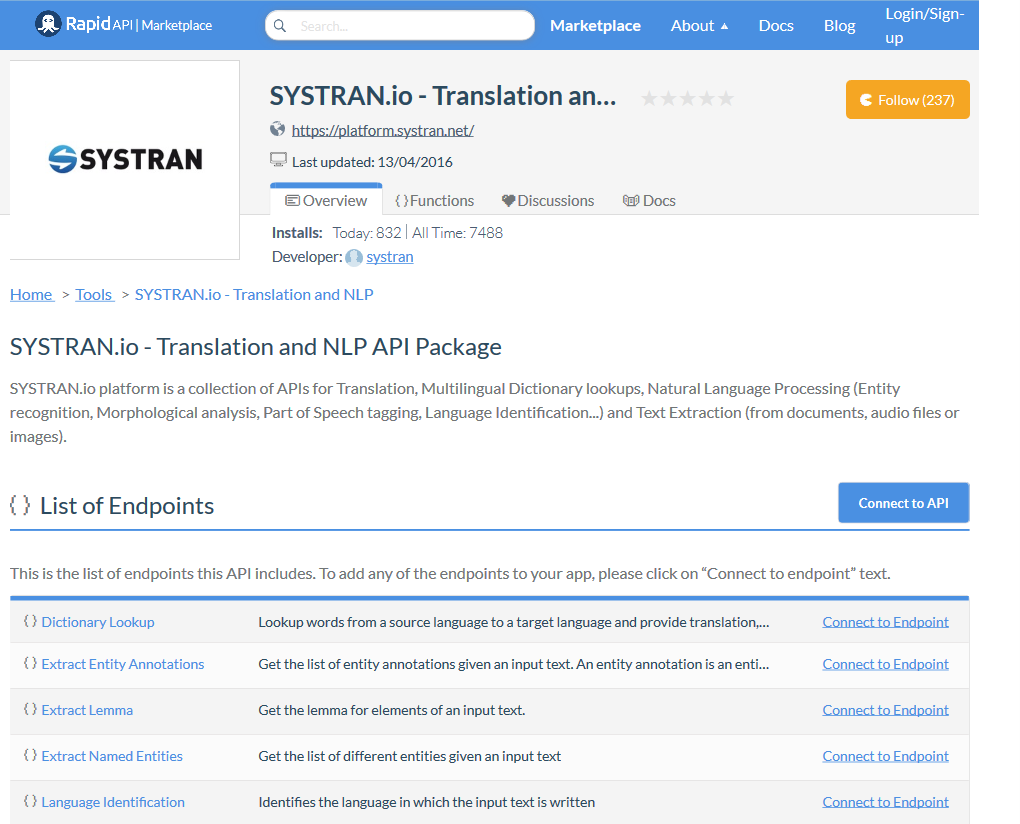 SYSTRAN.io - Translation and NLP API Documentation