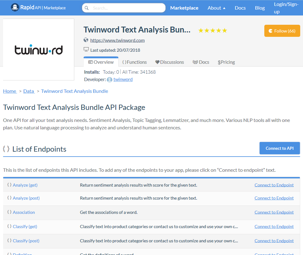 Twinword Text Analysis Bundle API