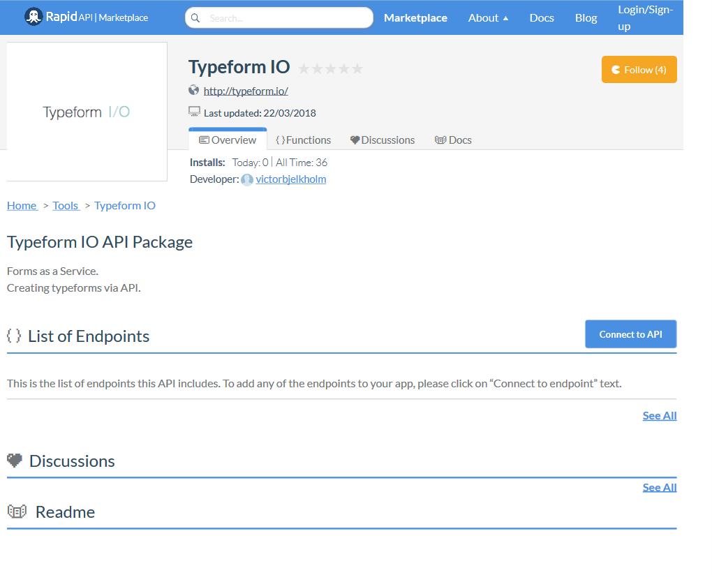 Typeform I/O API