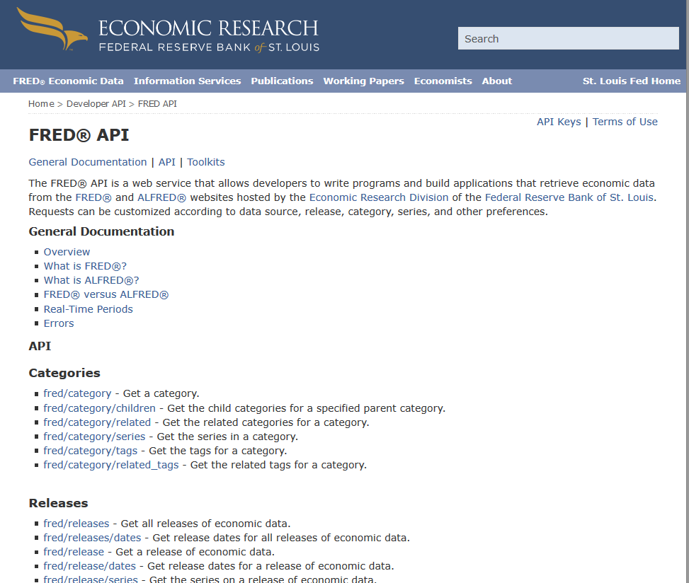 Federal Reserve Bank of St. Louis FRED API