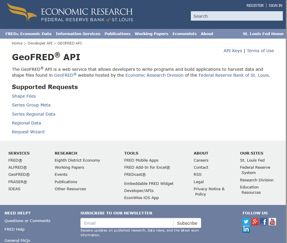 Federal Reserve Bank of St. Louis GeoFRED API