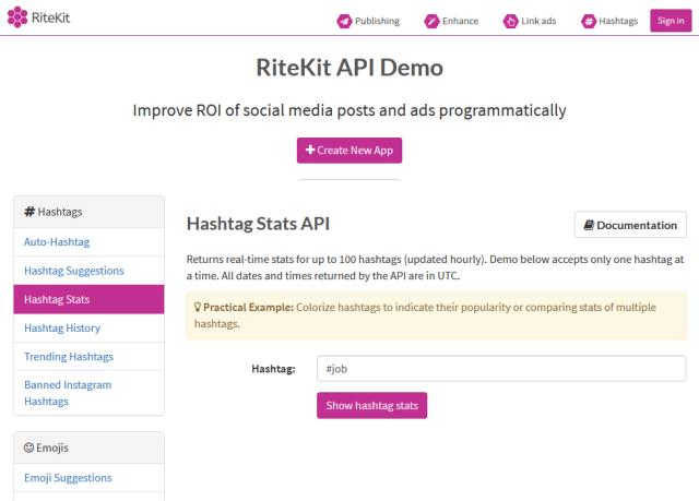Ritekit Hashtag Stats API
