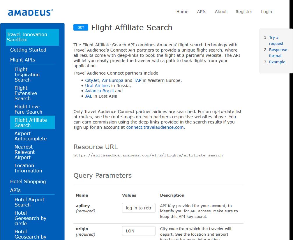 Amadeus Flight Affiliate Search API