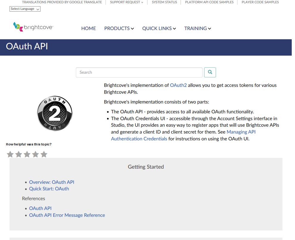 Brightcove OAuth API