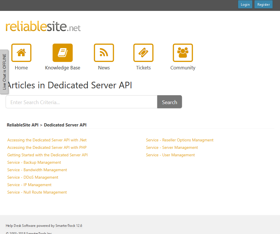 ReliableSite Dedicated Server API