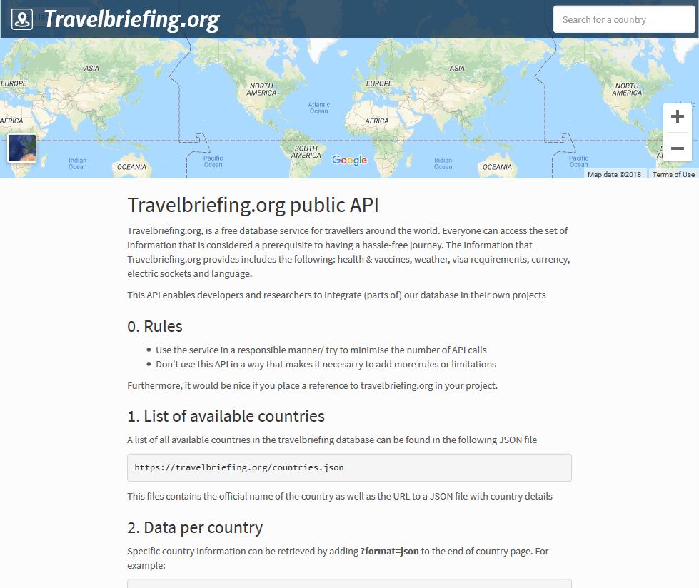 Travelbriefing.org public API
