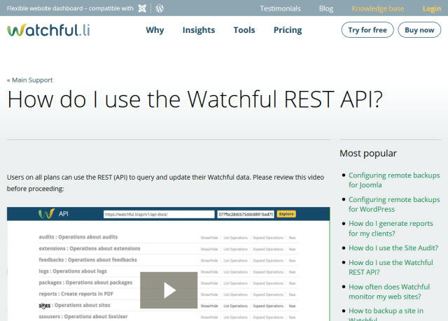 Watchful Swagger API