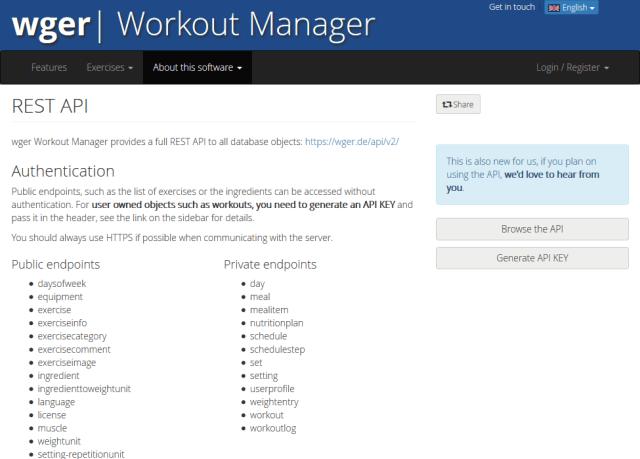 Wger Workout Manager API