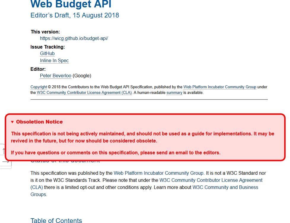 WICG Web Budget API