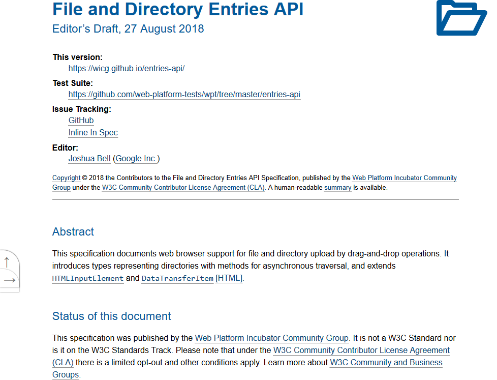WICG File and Directory Entries API