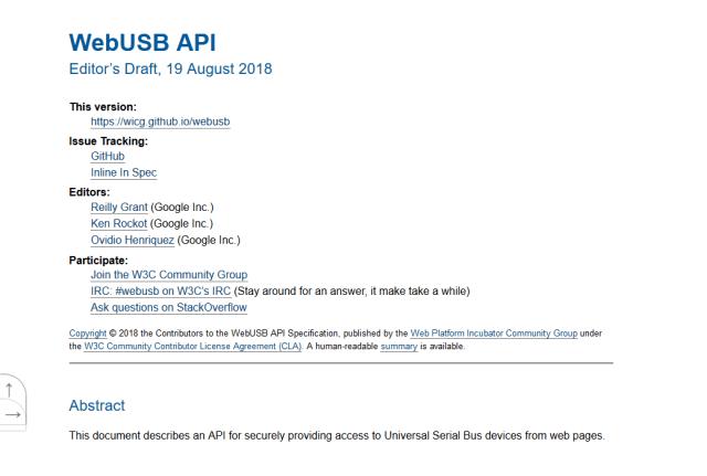 W3C Webusb API