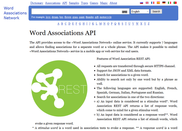 Word Associations Network API