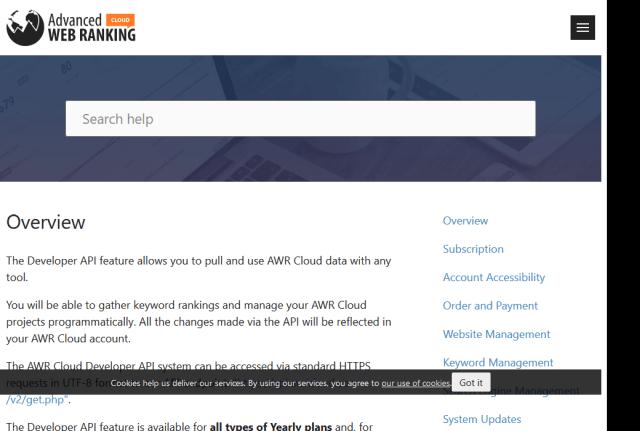 Awr Cloud Developer API