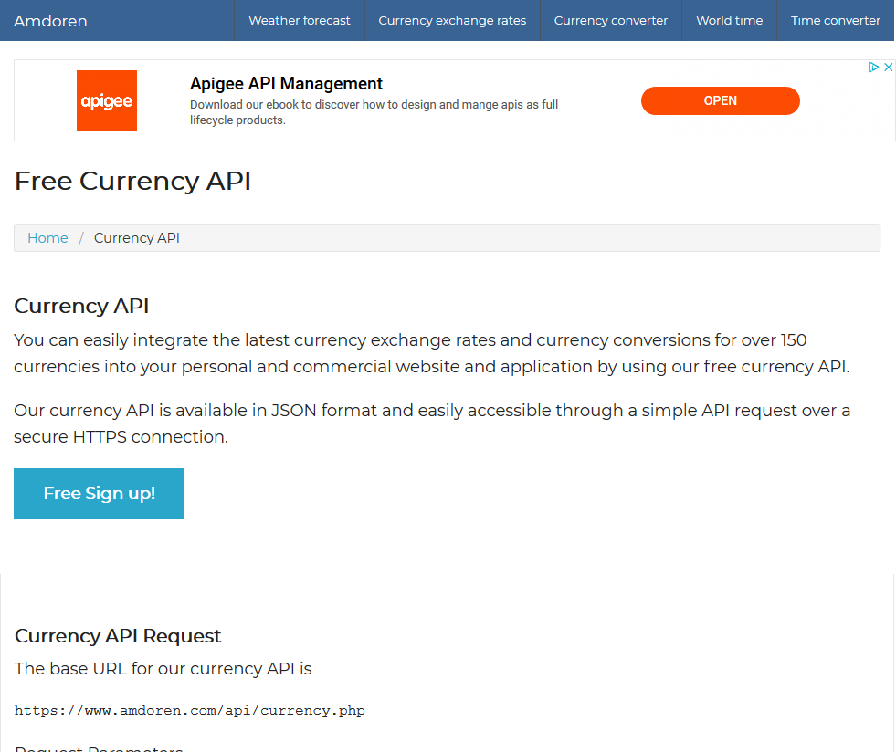 Amdoren Currency Api Overview