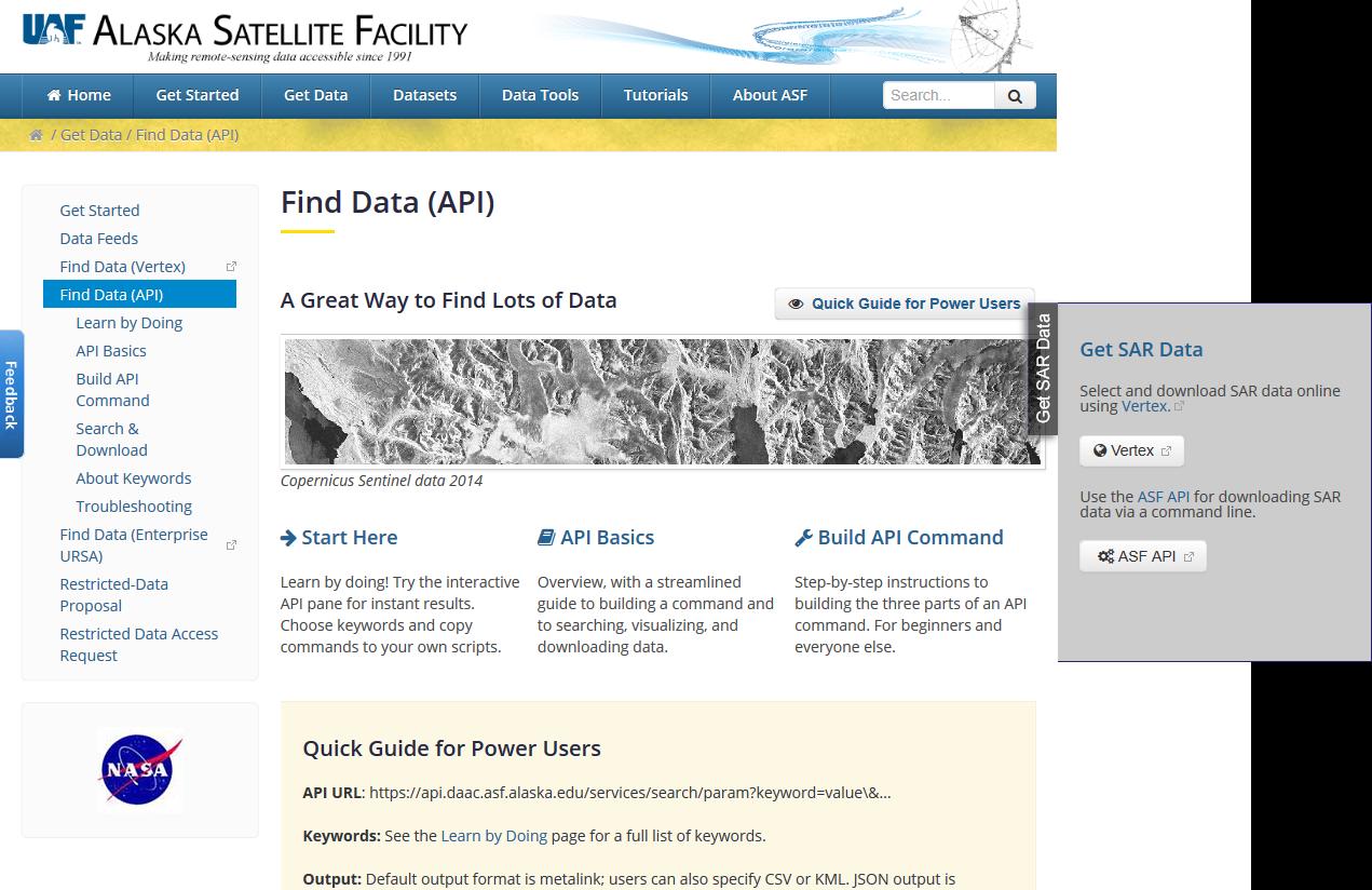Alaska Satellite Facility API