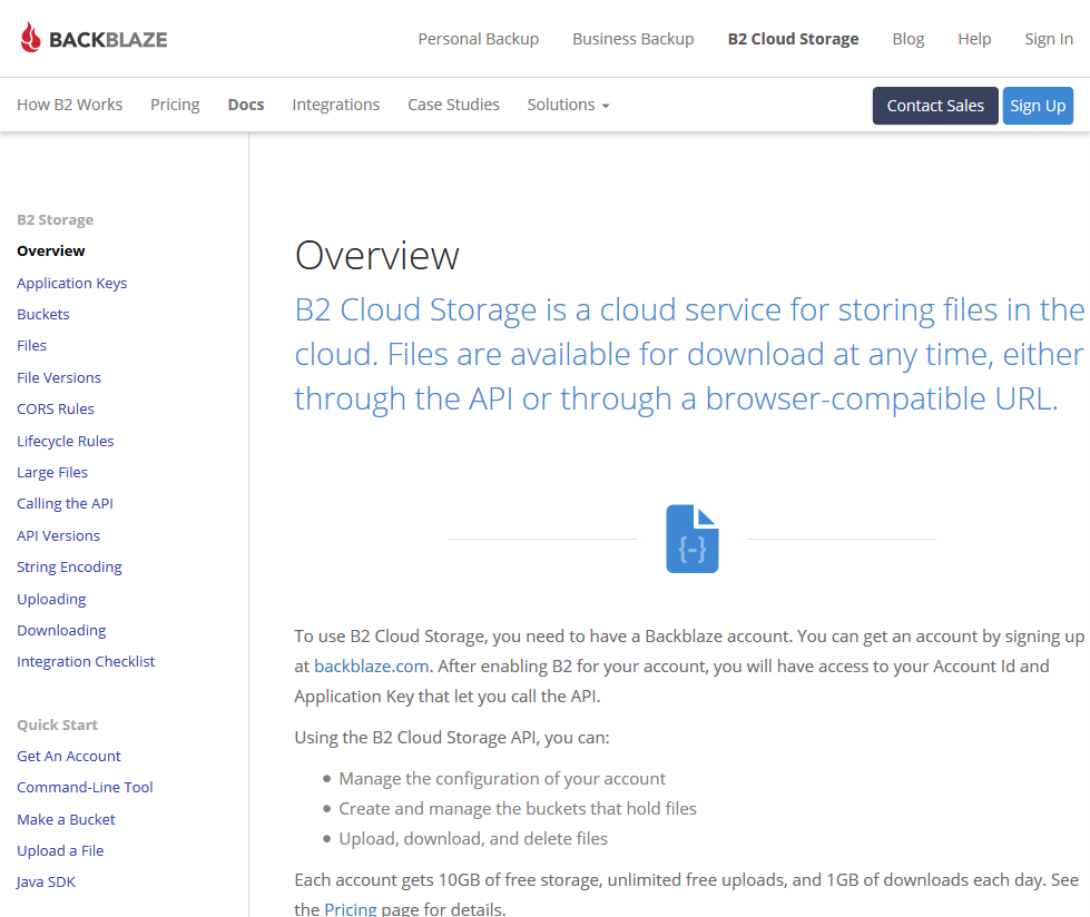 Backblaze B2 Cloud Storage API