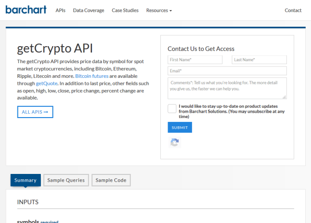 Barchart Ondemand Getcrypto API