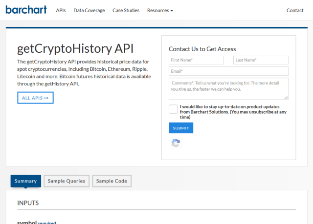 Barchart Ondemand Getcryptohistory API
