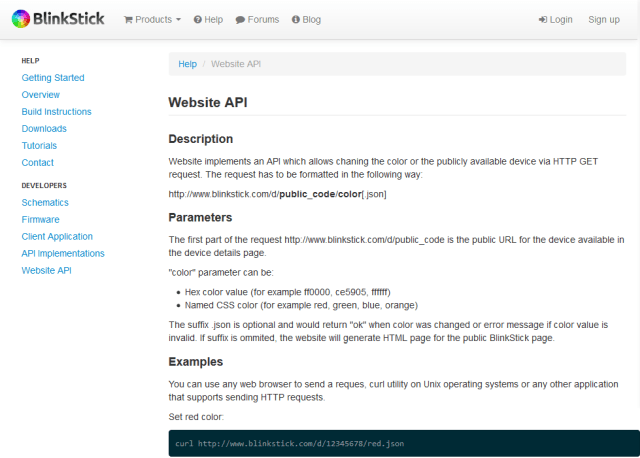 Blinkstick API