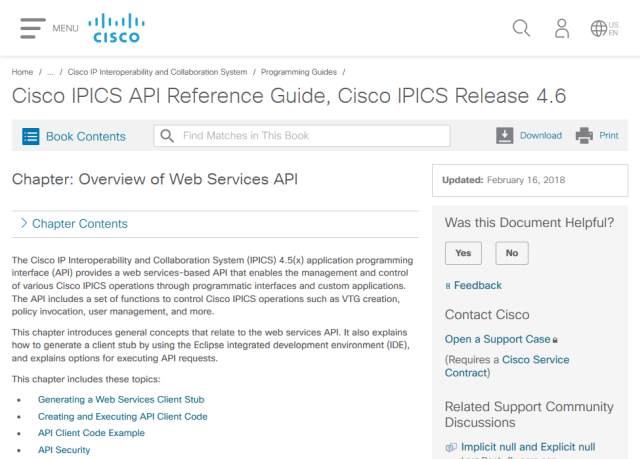 Cisco Ip Interoperability And Collaboration System Ipics Soap API